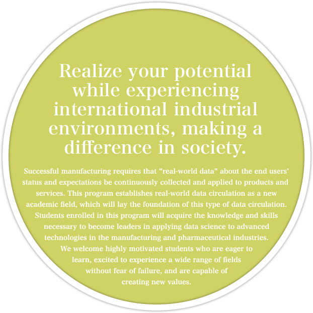Realize your potential while experiencing international industrial environments, making a difference in society.